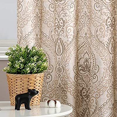 "jinchan Damask Printed Curtains for Bedroom Drapes Vintage Linen Blend Medallion Curtain Panels Window Treatments for Living Room Patio Door 1 Pair 84"" Taupe"