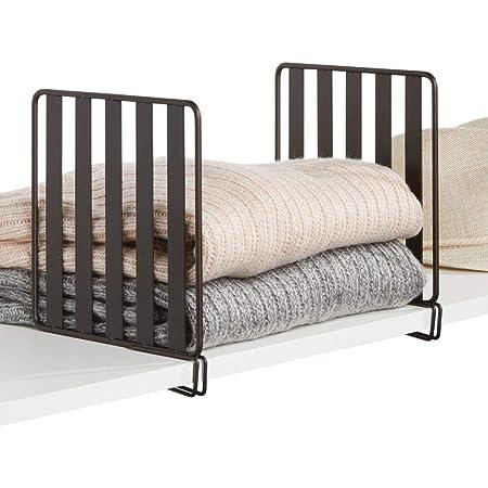 mDesign séparateur étagère (lot de 2) pour garde-robe – système aménagement placard pratique en métal – étagère séparation utile à monter sans perçage – couleur bronze