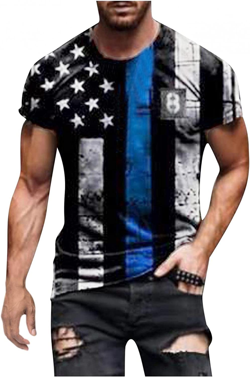 Huangse Mens Patriotic Soldier T-Shirt Workout Athletics Muscle Top American Flag Tops Slim Fit Printed Graphic Tee