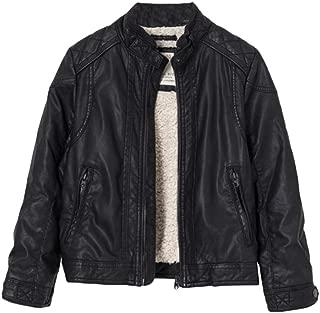 Mallimoda Boy's Leather Motorcycle Jacket Children's PU Zipper Coat