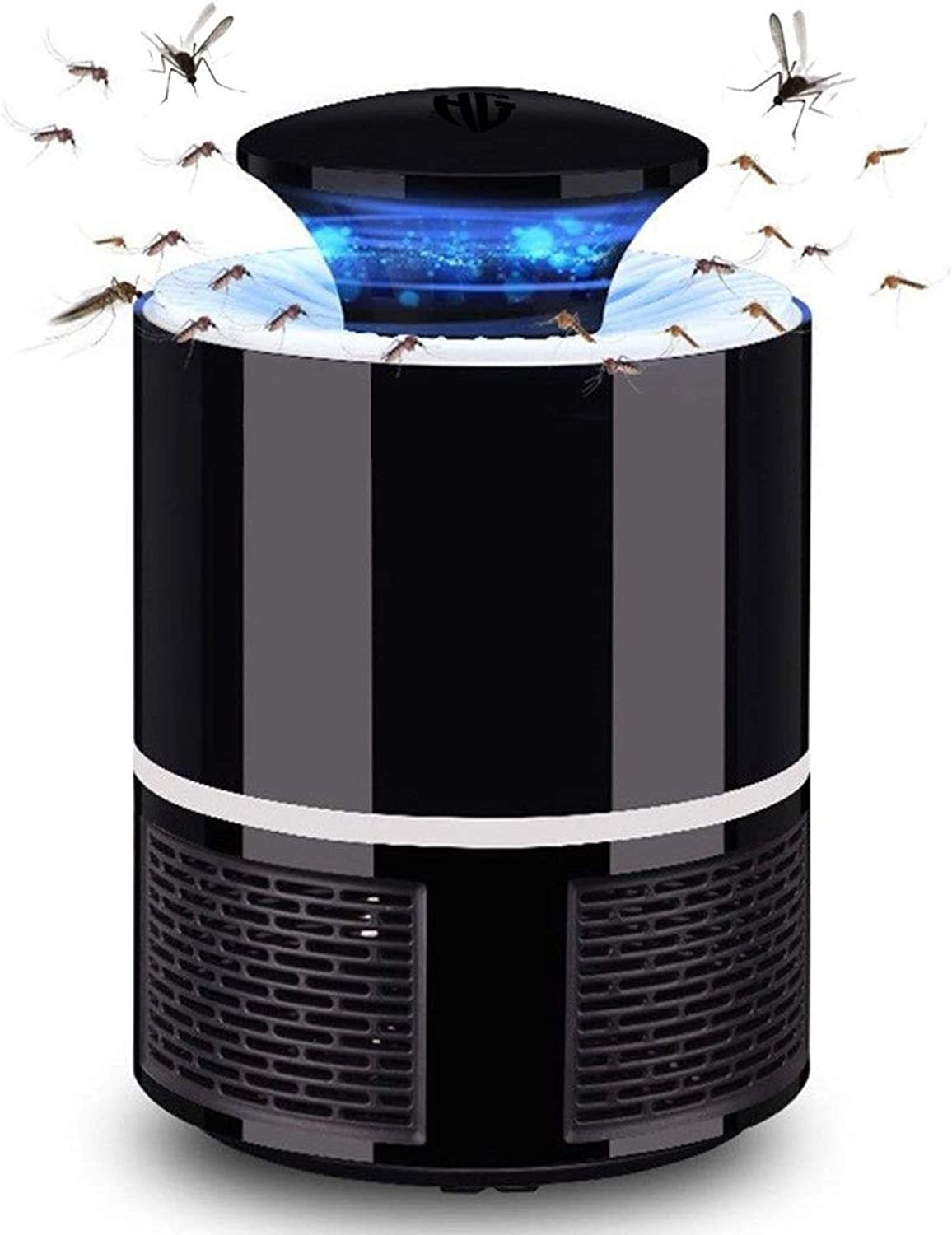 HUNTINGOOD Fly Trap Electric Mosquito Insect Killer Bug Zapper with 360 Degrees LED Trap LampStrong Built in Suction FanUSB Power SupplyChemicalFree and Quite for Indoor (Black White) (Black)