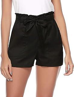 d46e4309c1 Aibrou Shorts Femme Pantalon Court Casual Bermudas avec Poches Taille Haute  Pantalons de Plage D'