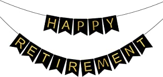 FECEDY Black Happy Retirement Banner Bunting for Retirement Party Decorations