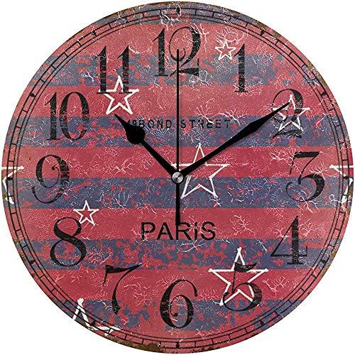 sam-shop Reloj de Pared silencioso Rojo sin Pintar Sars Graffiti, Reloj de Pared Redondo Decorativo de acrílico