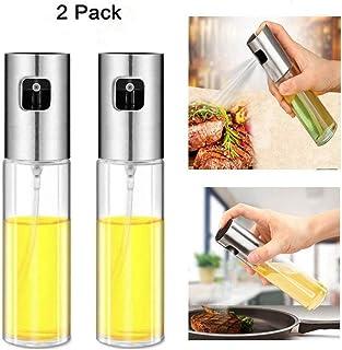 Nifogo Pulverizador Spray Oliva Aceite, Pulverizador de Aceite portátil,100 ML Botella de Cristal con Cepillo de Tubo Extra y Embudo, Ensalada, Pan, Hornear, cocinar (2PC)