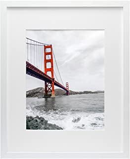 Frametory, 16x20 White Picture Frame - Made to Display Pictures 11x14 Photo with Ivory Color Mat - Wide Molding - Preinstalled Wall Mounting Hardware (16x20, White)