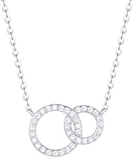 18K White Gold Plated 925 Sterling Silver Round CZ Cubic Zirconia Minimalism Geometrical Dainty Pendant Necklace for Women Girls with 15.75