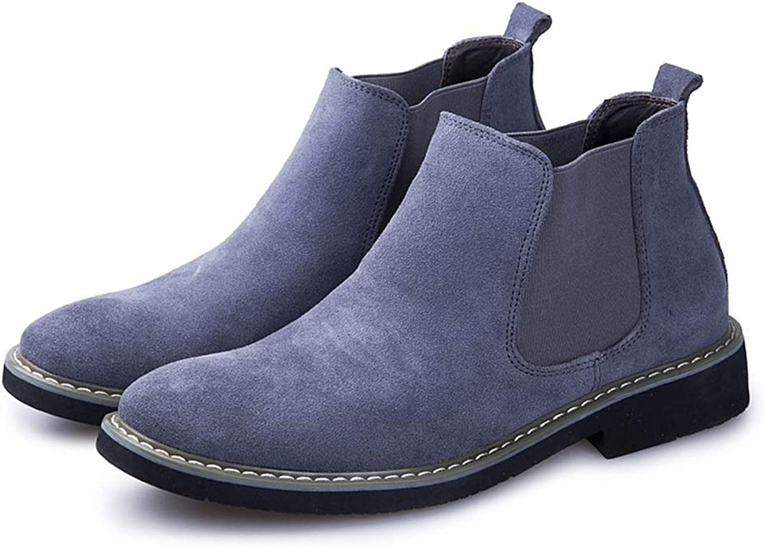 Xujw-shoes Men's Round Toe Sleeve with Flat Suede Pure color Boots