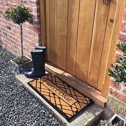 Welkom Coir deurmat 60 x 40cm kwaliteit landelijke stijl, Rubber Backed.