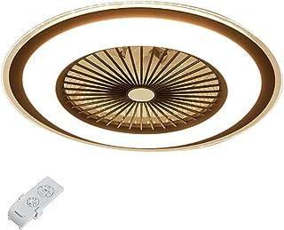 OUKANING - Ventilador de techo con mando a distancia y luz de techo LED regulable, ventilador interior, lámpara ultrasilenciosa para salón (marrón)
