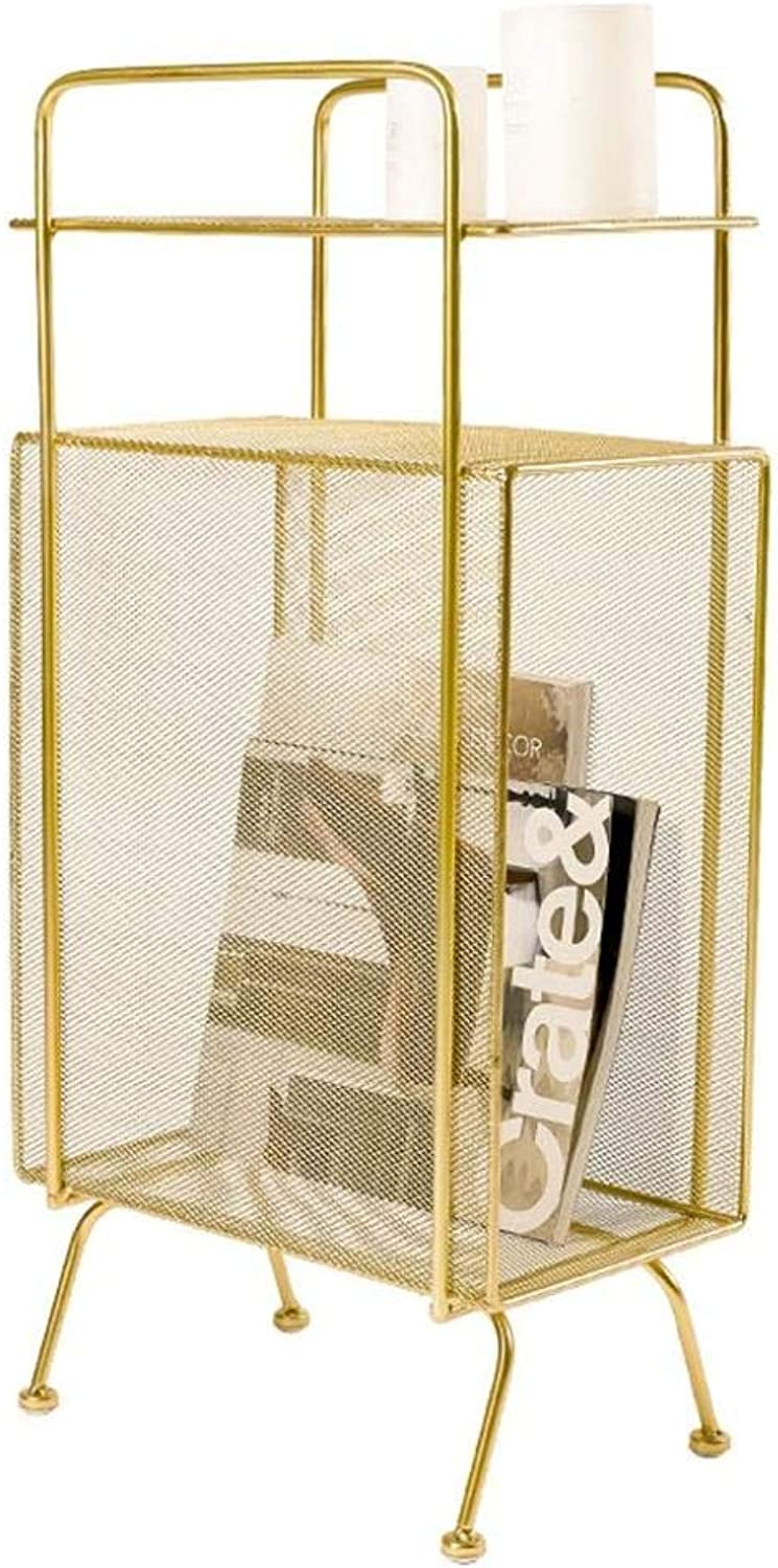 Bookshelf,Wrought Iron Floor Racks Bedroom Bedside Living Room Storage Bookshelf Magazine Rack Display Stand,gold