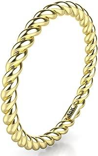 10K White/Yellow/Rose Gold 2MM Eternity Rope Wedding Band Ring