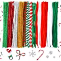 Caydo 200 Pieces 13 Styles Christmas Pipe Cleaners, Striped and Glitter Chenille Stem for Christmas DIY Creative Crafts Decorations (Red,Green, White, Sliver, Gold)