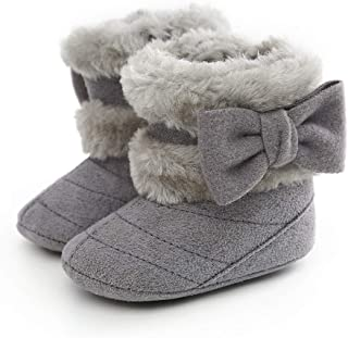 E-FAK Baby Girl Winter Snow Bowknot Boots Anti-Slip Soft Sole Warm Newborn Infant Toddler Prewalker Boots