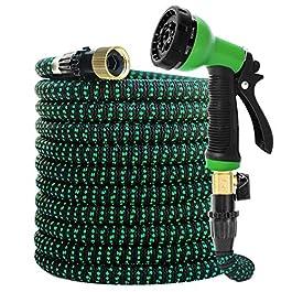 Tuyau d'arrosage extensible – Tuyau flexible et résistant anti-fuite 10 modes haute pression avec buse de pulvérisation…