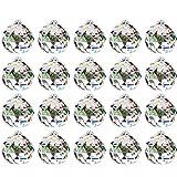 Nuptio 20mm Prisma de Bola de Cristal Transparente 20 Piezas - Cuelgan Facetadas Suncatcher Colgante para Lámpara de Techo, Feng Shui, Casa de la Boda, Decoraciones de Oficina