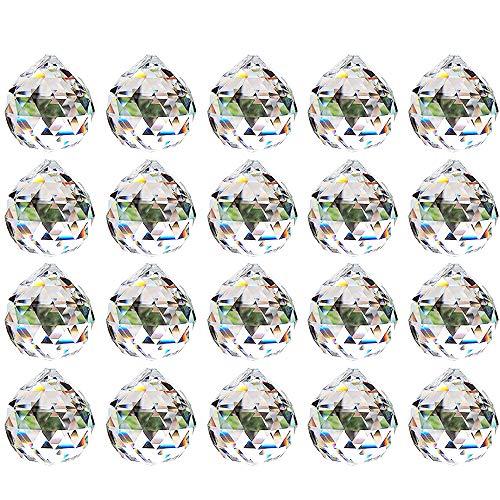 Nuptio 20mm Klares Kristallkugel Prisma - 20 Stück Hängender Anhänger Suncatcher für Deckenleuchter, Feng Shui, Heim für die Hochzeit, Büro-Dekorationen
