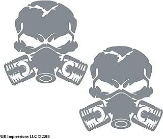 UR Impressions Silv 3.5in. Piston Gas Mask Skull 2-Pack Decal Vinyl Sticker Graphics for Cars Trucks SUV Vans Walls Windows Laptop Silver 3.5 inch URI719-S