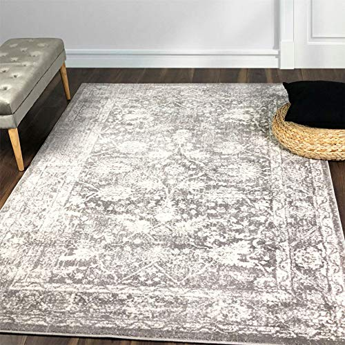 A2Z Rug Santorini 6076 Grey Vintage Style Floral Pattern With Border 120x170cm - 3'11'x5'7'ft 100% Heat Set Polypropylene Traditional Area Rugs
