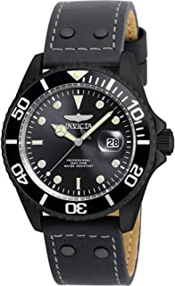 Men's 'Pro Diver' Quartz Stainless Steel and Leather Watch, Color:Grey (Model: 22077)