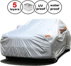 SEAZEN Car Cover, Waterproof Sedan car Cover with Zipper Door, for All Season All Weather, Snowproof/UV Protection/Windproof,Universal car Covers 5 Layer Breathable Fabric with Cotton(201