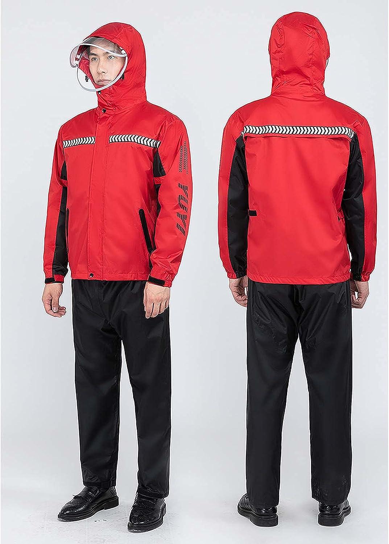 FHGH Double-Layer Commuter Split Raincoat, Thickened Reflective Men's Raincoat Set, Detachable Double Brim,E,Medium