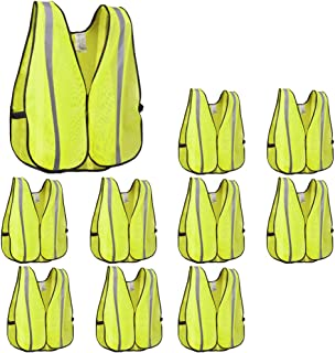 XSHIELD XS0008-10,High Visibility Safety Vest with Silver Stripe,ANSI Class Unrated,Universal Size,Pack of 10 (Yellow)