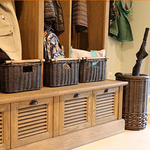 The Basket Lady Deep Pole Handle Wicker Storage Basket, X-Large, 17.5 in L x 18 in W x 11.5 in H, Antique Walnut Brown