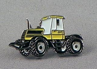 Spilla in metallo smaltato a forma di trattore, costruzione terrestre, colore: giallo