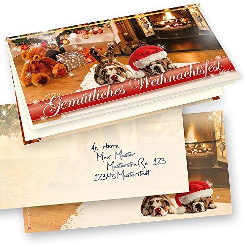 PREMIUM Top-Qualität Weihnachtskarten Klappkarten Drollige Hunde 10 Sets + Kuverts, Grußkarten + Einlageblatt zum Bedrucken