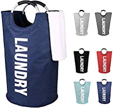 Sentovac Large Laundry Basket Collapsible Fabric Hamper Fold-able Clothes Bag Folding Washing Bin-Waterproof Basket,Storage for Dirty Clothes,Towels,Coats,Sheets,Toys 6 Colors Available(Navy)