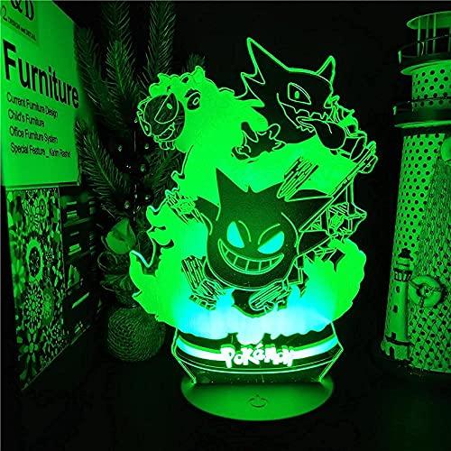 Lámpara de ilusión de luz de noche Led 3D Usb Anime Pokemon Gorgon Plus Monstruo de bolsillo de plomo lindo Sensor Rampara para niños