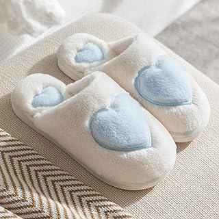 Zapatillas De Casa Para Mujer,Cálido Invierno Antideslizante Zapatillas De Algodón Azul Moda Amor Corazón De Felpa Suave Transpirable Zapatillas Para El Silencio Interior Home Zapatos Cómodos Dorm