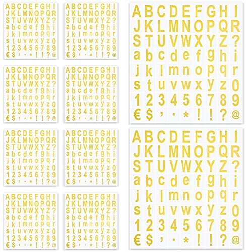 720 Pieces 10 Sheets Self-Adhesive Vinyl Letters Numbers Kit, Mailbox Numbers Sticker for Mailbox, Signs, Window, Door, Cars, Trucks, Home, Business, Address Number (Gold)