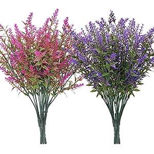 Silk Flower Arrangements HATOKU 9 Bundles Artificial Lavender Flowers Outdoor Fake Flowers for Decoration UV Resistant No Fade Faux Plastic Plants Garden Porch Window Box Décor (5 Purple/ 4 Magenta)