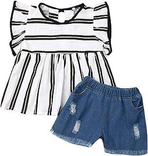 Zoiuytrg Conjunto de 2 Piezas de Ropa de Verano para bebé y niña, Playera con un Hombro + Pantalones Cortos de Mezclilla con Dobladillo Deshilachado