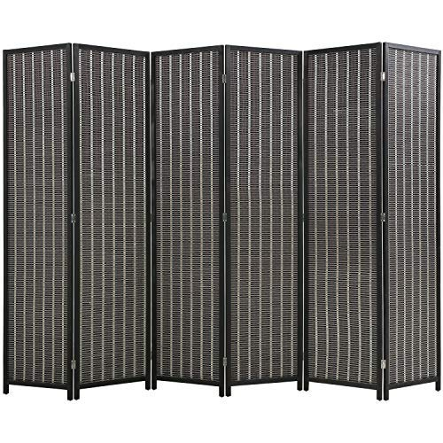 FDW 6 Panel 72 Inch Room Divider Bamboo Folding Privacy Wall Divider Wood Screen for Home Bedroom Living Room, Black