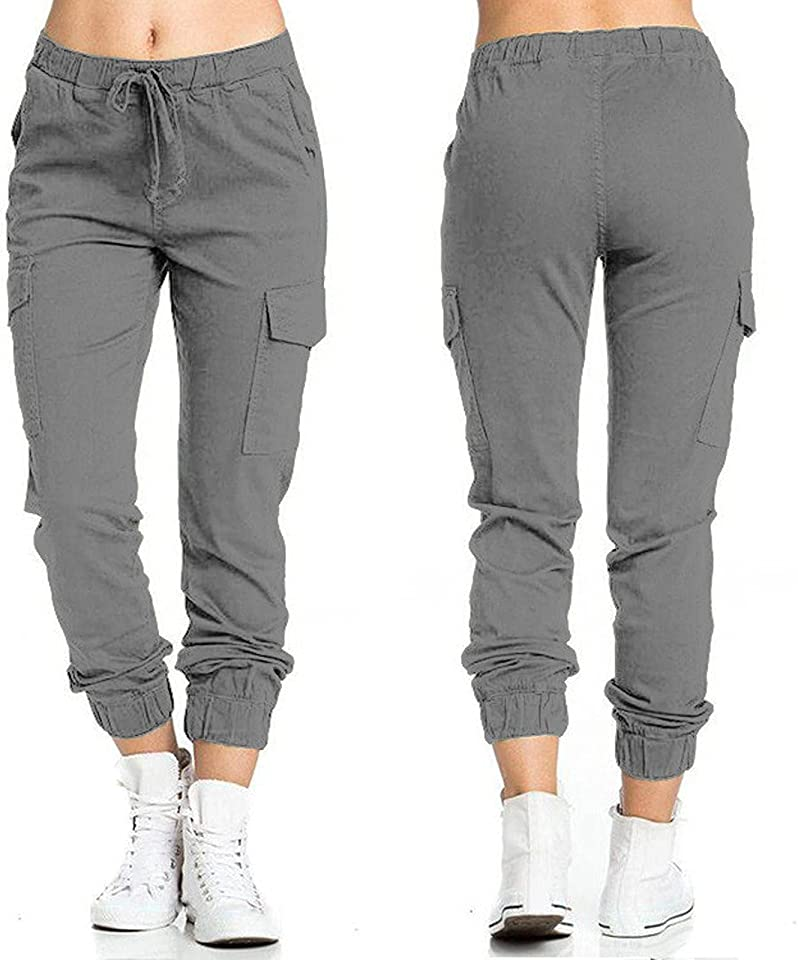 Damen Hoher Taille Elastische Hose Seitentaschenhose Arbeitskleidung Einfarbige Slim Fit Freizeithose Lange Jogginghose KnöChelhose