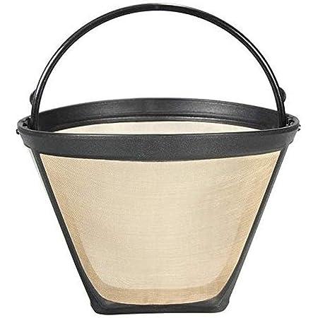 恒久な 再利用可能 円錐 形をした コーヒーフィルター メッシュ バスケット ゴールドトーン コーヒー アクセサリー