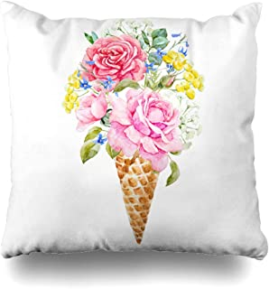 Ahawoso Throw Pillow Cover Yellow Watercolor Painting Ice Cream Cone Flowers Roses Waffle Tansy Blue Delphinium Summer Nature Decorative Zipper Cushion Case Square 20