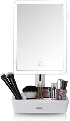 Fancii LED Lighted Large Vanity Makeup Mirror with 10X Magnifying Mirror - Dimmable Natural Light, Touch Screen, Dual...