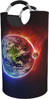 Space Planet Earth Panier à linge pliable étanche avec poignées en aluminium