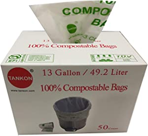 Tankon Compostable Trash Bags 13 Gallon, 49.2 Liter, 50 count , 16.9 in x 17.7 in x 0.71 Mils; White colour, Food Scrap Kitchen, BPI ASTM D6400 Certified. (50, 13 Gallon)