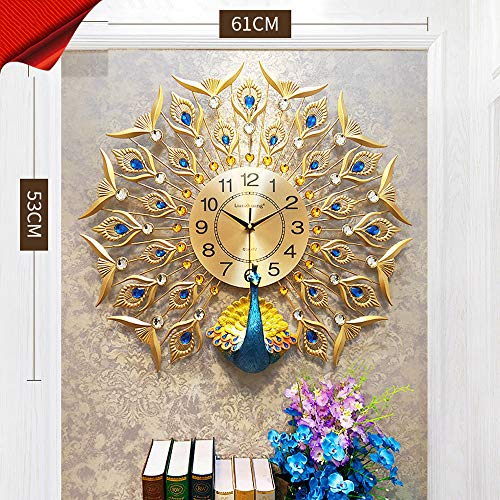 tib Reloj de Pared de Pavo Real Reloj de Pared de Cristal Decoración para el hogar Reloj de Sala Europeo Reloj de Silencio Arte Decoración Reloj de Pared,goldcolor61*53