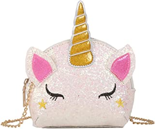 TXVSO Piccola Glitter Carino Unicorno Crossbody borsa a tracolla portafoglio borsa chiusura a cerniera per ragazze adolesc...