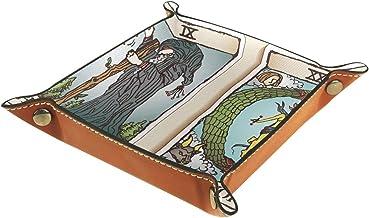 HOHOHAHA Skórzany składany uchwyt na kości taca do toczenia z zatrzaskami do DnD, gier stołowych, do przechowywania kart t...