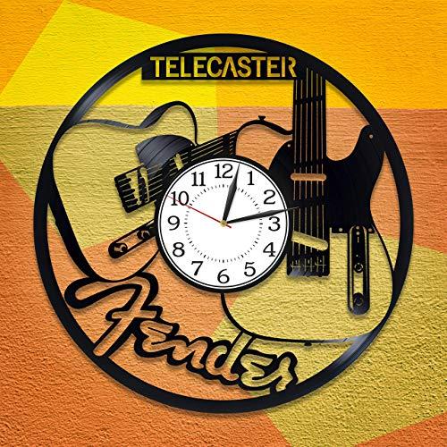 Reloj de pared con diseño de guitarra, ideal para regalo de cumpleaños, decoración original para el hogar, Fender Guitarra, disco de vinilo, reloj de pared para hombre y mujer Telecaster hecho a mano