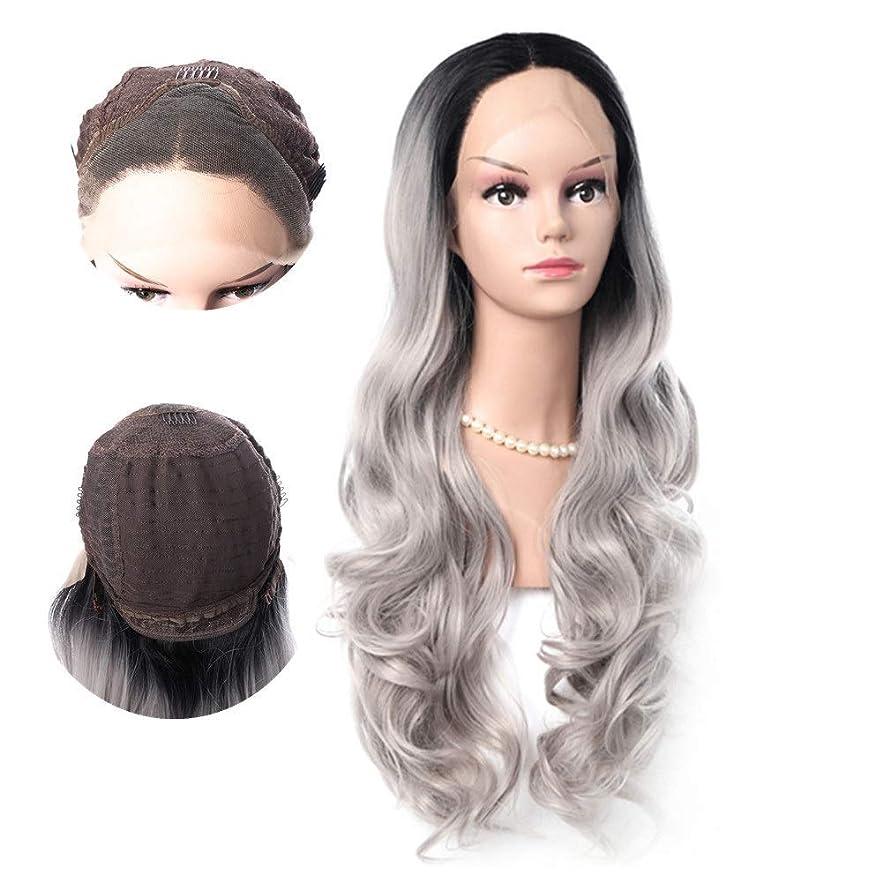 妨げるモード社会主義者WASAIO 女性の長い巻き毛のかつらは、黒髪の自然な波状のオンブルレースフロントかつらを植えた (色 : グレー)