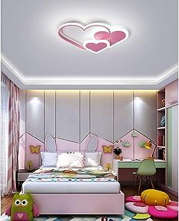 Plafonnier LED Moderne Chic Coeur Design Chambre Lampe Dimmable Télécommande Salon Plafonnier Rose Décor Plafon Light Méta...