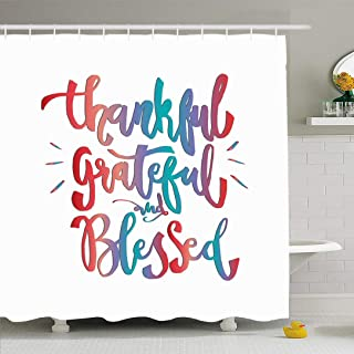 Ahawoso Shower Curtain Set with Hooks 72x72 Thankful Text Motivational Life Grateful Blessed On White Word Sign Font Abstract Cushion Textures Waterproof Polyester Fabric Bath Decor for Bathroom